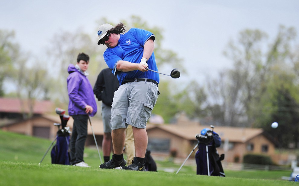 Camp Verde's Royal Doungeva tees off as Chino Valley hosted a three-way match Tuesday, April 16 at Antelope Hills Golf Course in Prescott.  (Les Stukenberg/Courier)