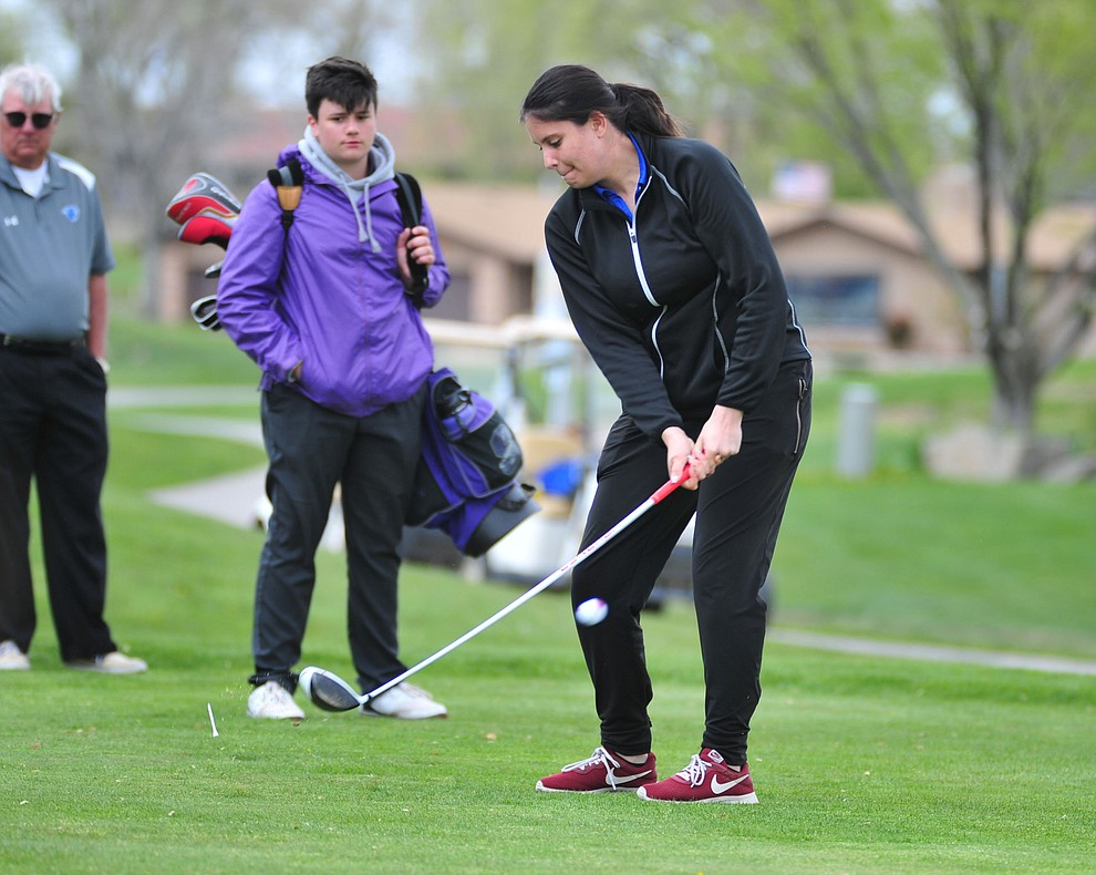 Camp Verde's Kim Ferguson tees off as Chino Valley hosted a three-way match Tuesday, April 16 at Antelope Hills Golf Course in Prescott.  (Les Stukenberg/Courier)