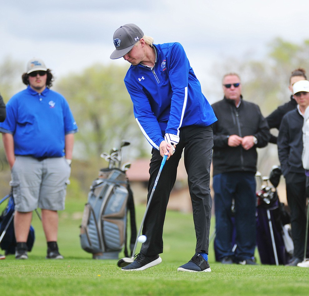 Chino Valley's Keller Rock tees off as Chino Valley hosted a three-way match Tuesday, April 16 at Antelope Hills Golf Course in Prescott.  (Les Stukenberg/Courier)