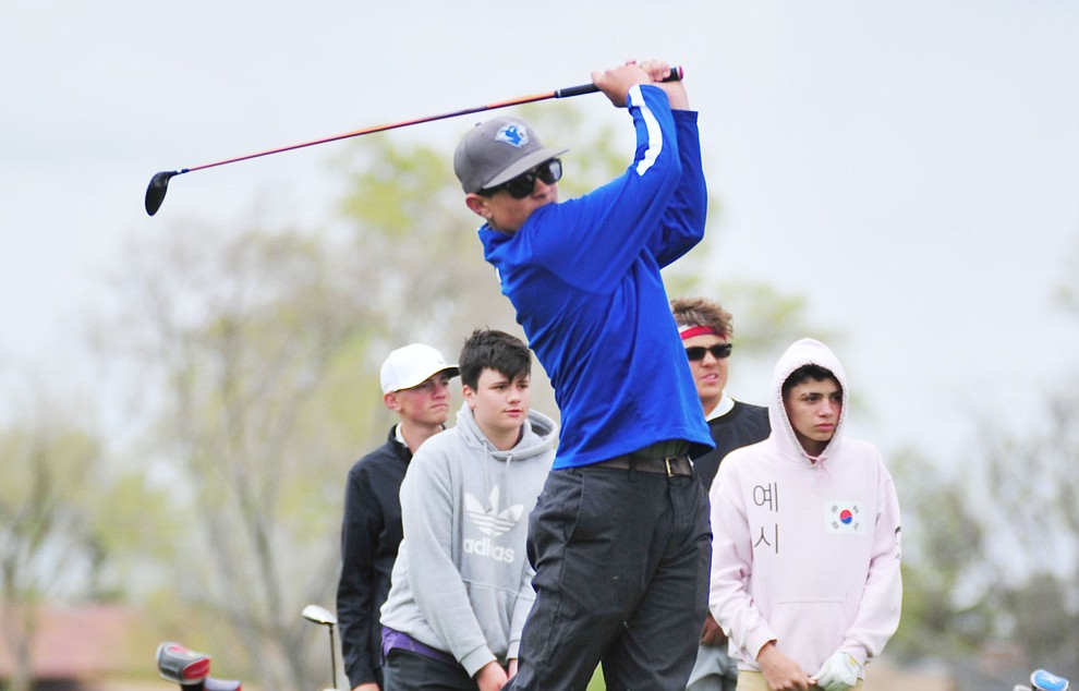 Chino Valley's Trevor Stazenski tees off as Chino Valley hosted a three-way match Tuesday, April 16 at Antelope Hills Golf Course in Prescott.  (Les Stukenberg/Courier)