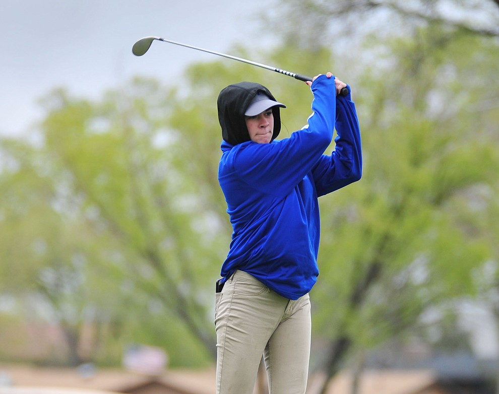 Chino Valley's Lindsey tenBerge tees off as Chino Valley hosted a three-way match Tuesday, April 16 at Antelope Hills Golf Course in Prescott.  (Les Stukenberg/Courier)