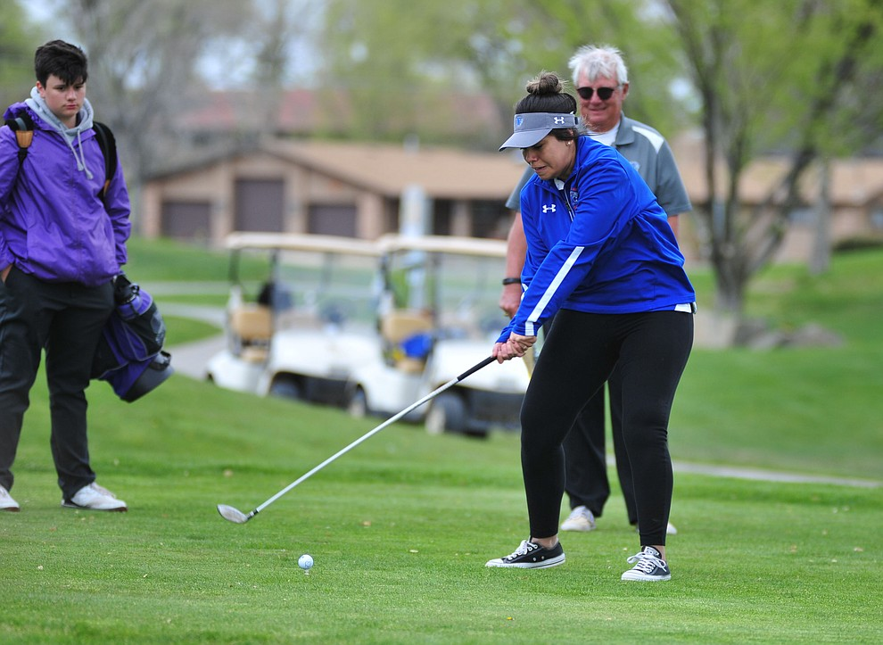 Chino Valley's Crystal Sanchez tees off as Chino Valley hosted a three-way match Tuesday, April 16 at Antelope Hills Golf Course in Prescott.  (Les Stukenberg/Courier)