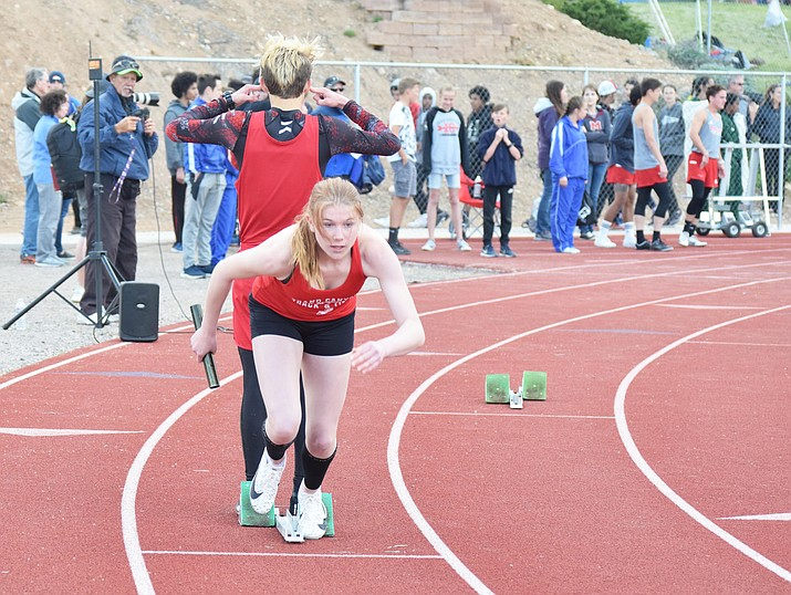 The Grand Canyon High School track team competes at the Mingus Track Meet at Mingus High School in Cottonwood April 12. (James Kelley courtesy of The Verde Independent)