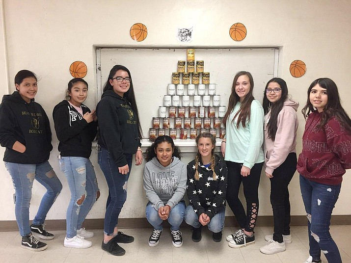 Beaver Creek's National Junior Honor Society girls are continuing to work hard to help their fellow students get food in their backpacks from the food pantry. Photo courtesy Beaver Creek School District