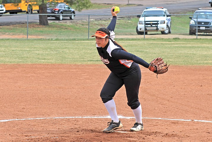 Jazlyn Romero pitches in a game with Ash Fork April 11 at Williams High School. (Wendy Howell/WGCN)