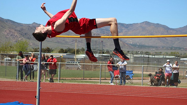 Lee Williams junior Drew Cardiff won the high jump at 6-feet, 4-inches during the Route 66 Invitational Saturday at Kingman High School. (Photo by Beau Bearden/Daily Miner)