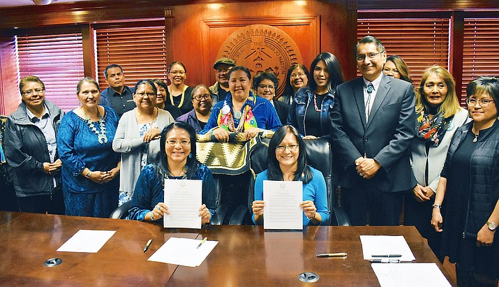 Navajo Nation First Lady Phefelia Nez and Second Lady Dottie Lizer join Navajo Nation President Jonathan Nez and advocacy groups declaring April Sexual Assualt and Sexual Harrassment Awareness Month. (Office of the President and Vice President)