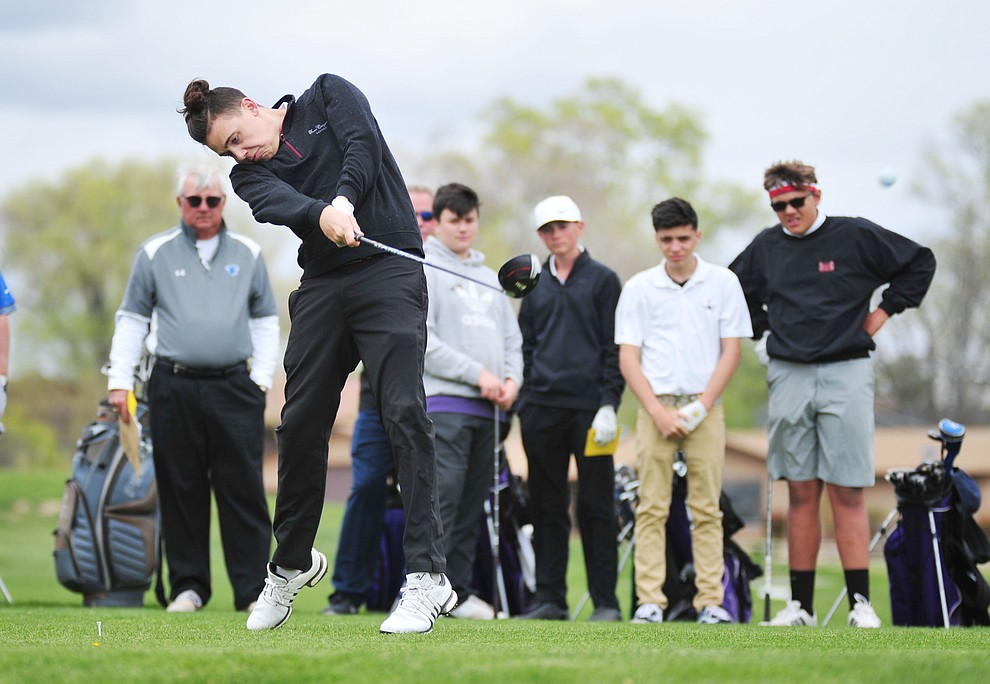 Sedona Red Rock's Gavin Bruce tees off as Chino Valley hosted a three-way match Tuesday, April 16 at Antelope Hills Golf Course in Prescott.  (Les Stukenberg/Courier)