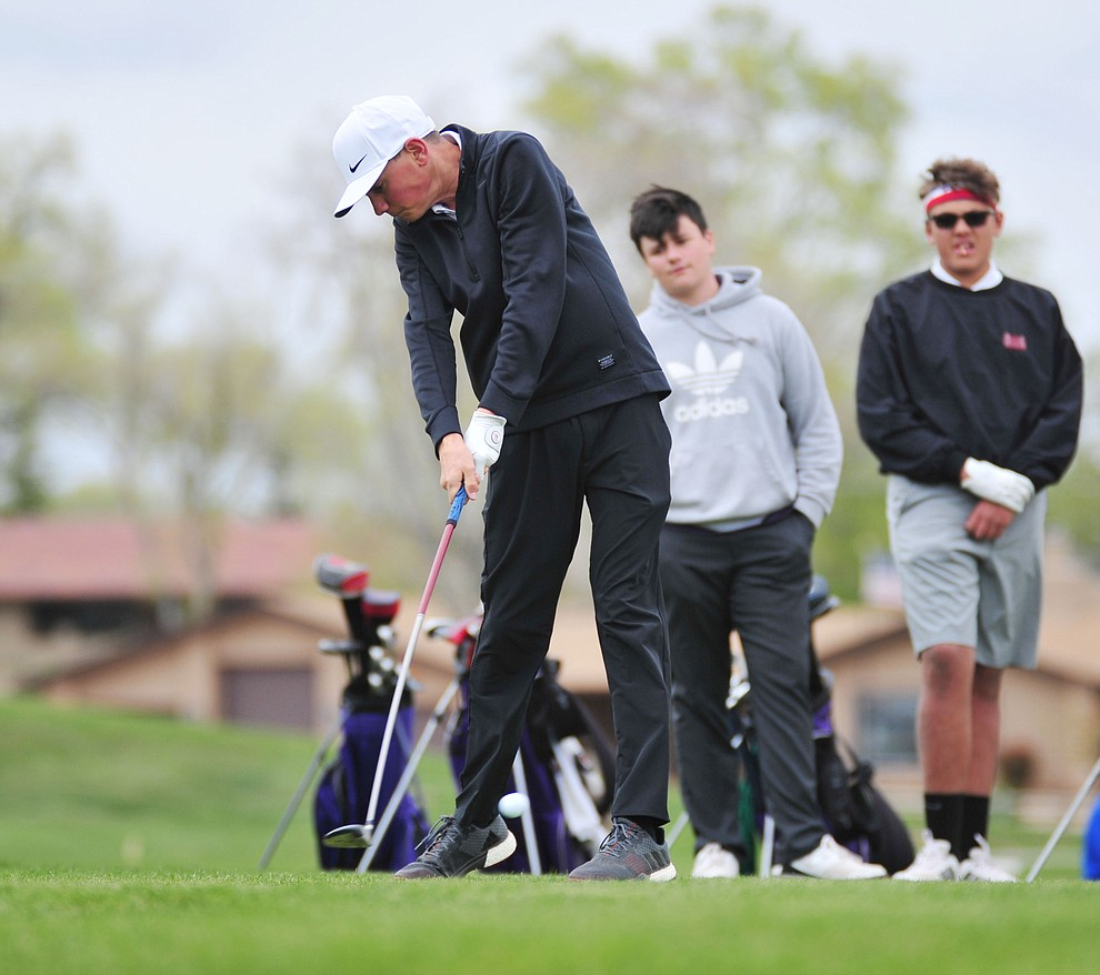 Sedona Red Rock's Cameron Stewart tees off as Chino Valley hosted a three-way match Tuesday, April 16 at Antelope Hills Golf Course in Prescott.  (Les Stukenberg/Courier)