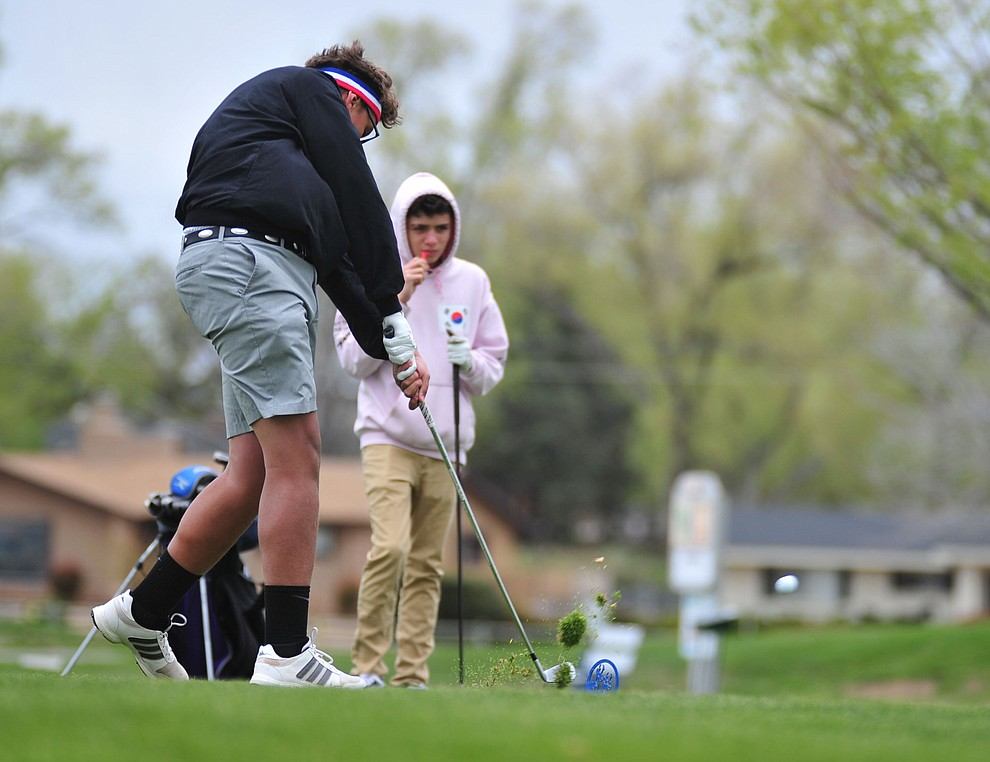 Sedona Red Rock's Dorian Stevens tees off as Chino Valley hosted a three-way match Tuesday, April 16 at Antelope Hills Golf Course in Prescott.  (Les Stukenberg/Courier)