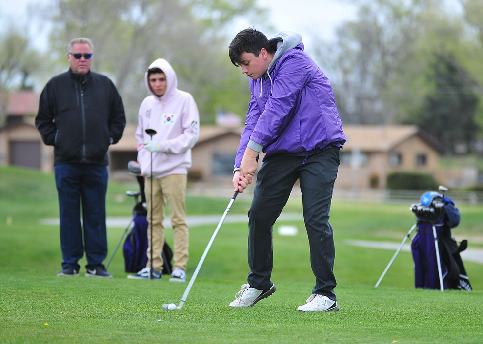 Sedona Red Rock's Robby Sheehan tees off as Chino Valley hosted a three-way match Tuesday, April 16 at Antelope Hills Golf Course in Prescott.  (Les Stukenberg/Courier)