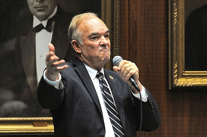 In this February 2018 file photo, Rep. Don Shooter decries the move to oust him from the House last year over sexual harassment charges. On Monday, April 15, 2019, Shooter asked the Senate Ethics Committee to determine whether former House Speaker J.D. Mesnard acted unethically in refusing to release parts of an investigative report that resulted in his expulsion. (Howard Fischer/Capitol Media Services, file)
