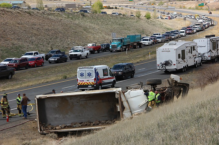 A dump truck rolled along Highway 89A mid-day Wednesday, April 17. Seriously injured, the driver was transported by helicopter to Flagstaff Medical Center.