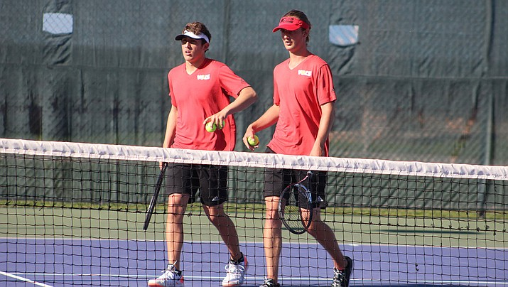Lee Williams senior Jordon Freeman, right, and Kade Juelfs finished 15-0 in their doubles matches this season. The duo looks to continue that streak at state against Paradise Valley. (Daily Miner file photo)