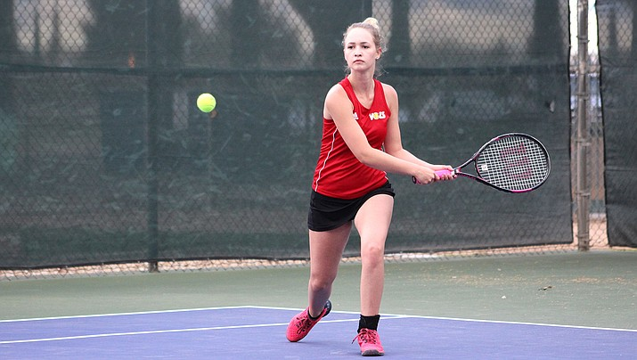 Lee Williams senior Kaylee Morley concluded her senior year with a perfect 20-0 record in combined singles and doubles matches. The Lady Vols swept Yuma 9-0 to finish the year with a program-best 11-4 mark. (Photo by Beau Bearden/Daily Miner)