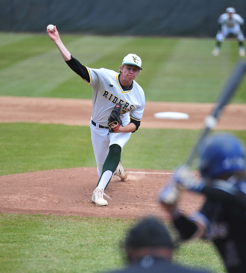 Yavapai's Trey Morrill delivers a pitch as the Roughriders take on Gateway Community College Wednesday, April 17 at in Prescott. Morrill held the Geckos to four-hits and two-runs in the first of a double header.  (Les Stukenberg/Courier)