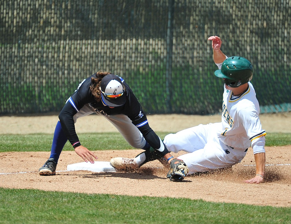 Yavapai's Will Long slides safely into third as the Roughriders take on Gateway Community College Wednesday, April 17 at in Prescott.  (Les Stukenberg/Courier)