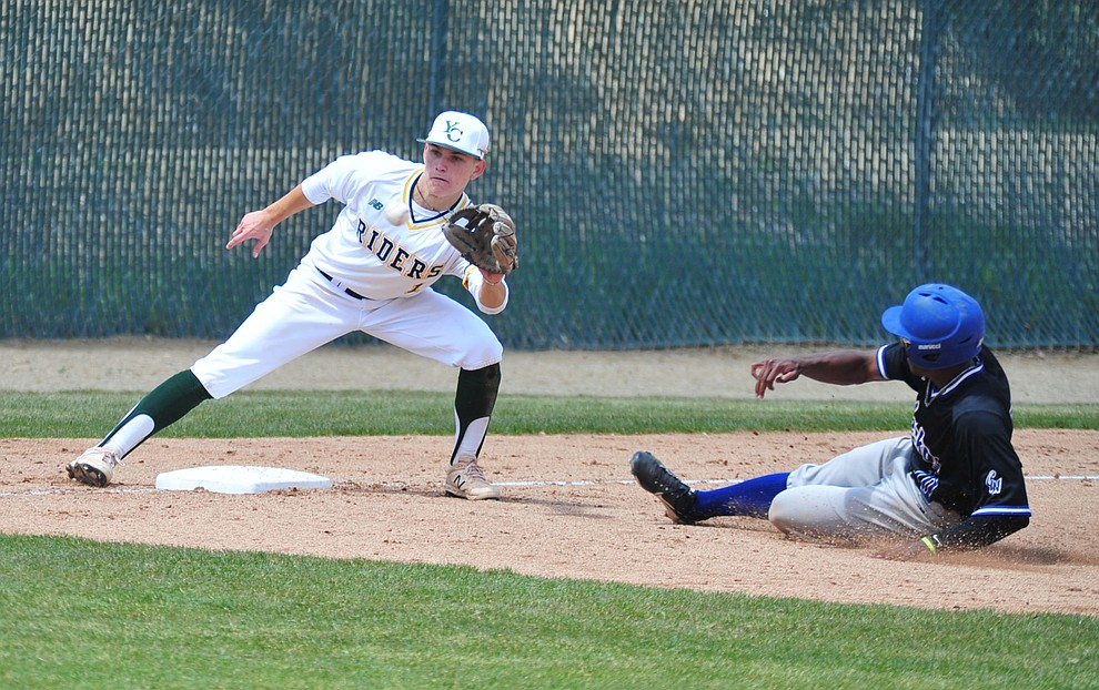 Yavapai's Will Long gets the out at third as the Roughriders take on Gateway Community College Wednesday, April 17 at in Prescott.  (Les Stukenberg/Courier)
