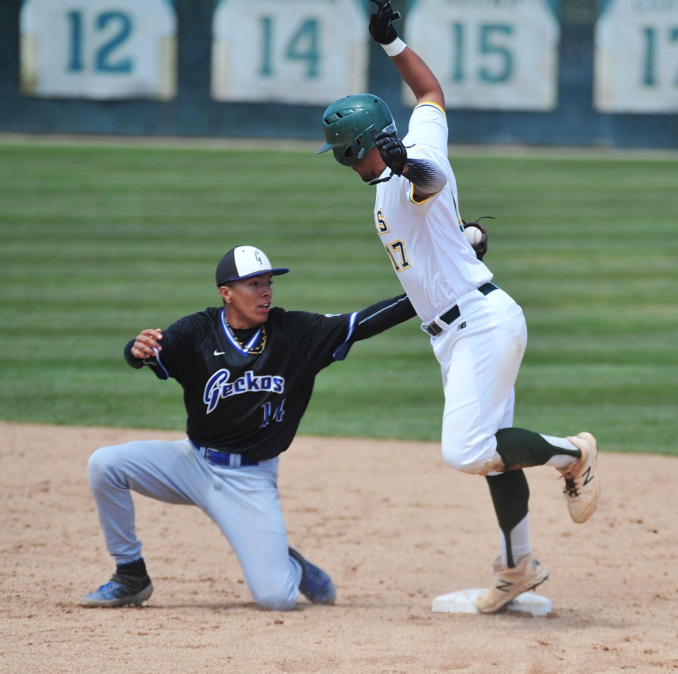 Yavapai's Christian Encarnacion-Strand steals second as the Roughriders take on Gateway Community College Wednesday, April 17 at in Prescott.  (Les Stukenberg/Courier)