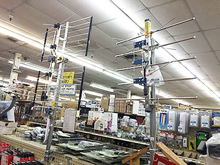 High-end television antennas on display at Kingman True Value in this Feb. 29, 2016 file photo. Mohave County Supervisor Buster Johnson doesn't see local programming coming to the county TV district. (Daily Miner file photo)