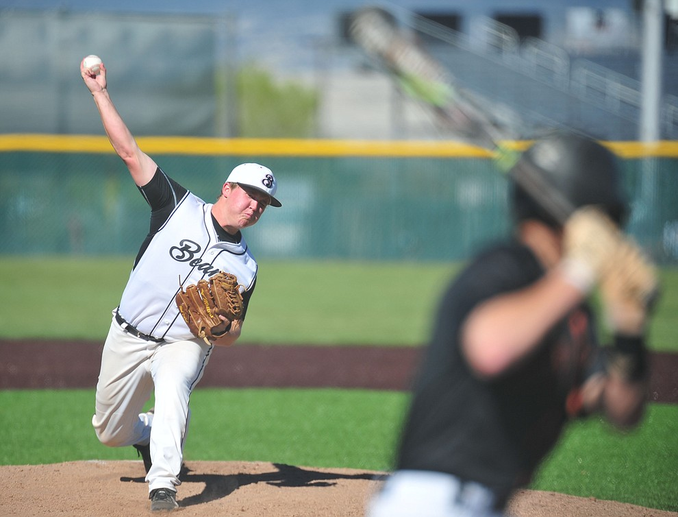 Bradshaw Mountain's Jacob Roberts delivers a pitch as the Bears face Desert Edge Thursday, April 18 in Prescott Valley.  (Les Stukenberg/Courier)