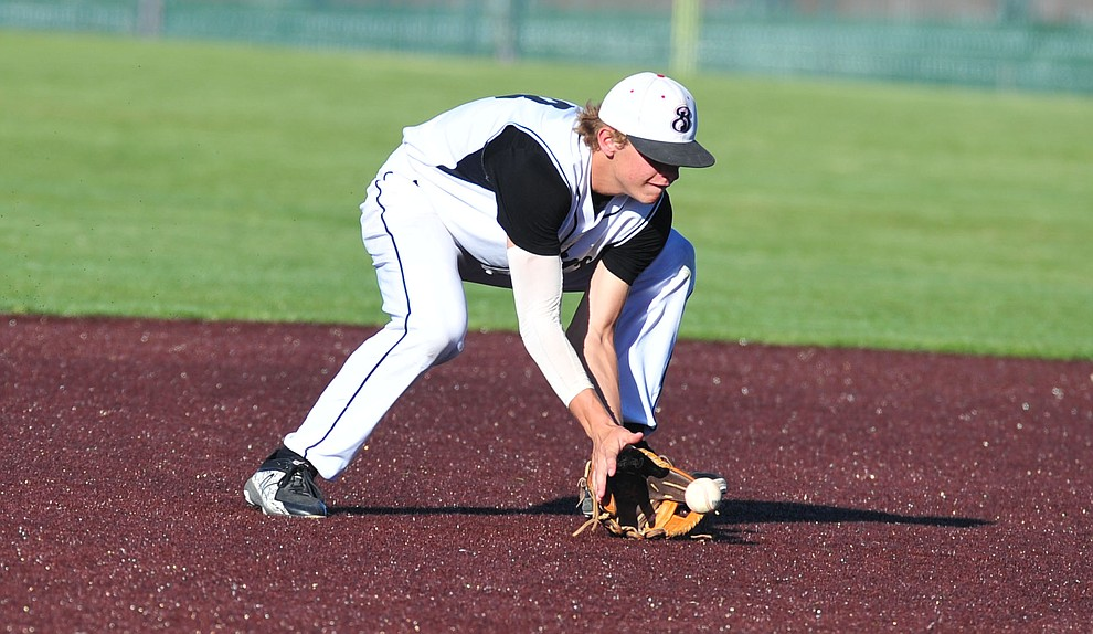 Bradshaw Mountain's Josh Grant makes a play at shortstop as the Bears face Desert Edge Thursday, April 18 in Prescott Valley.  (Les Stukenberg/Courier)