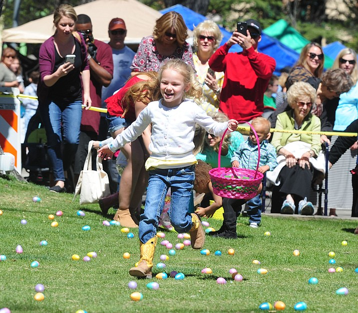 Four-and-unders head out to collect eggs during the Great Prescott Easter Egg Hunt on the Yavapai County Courthouse Plaza. This year's event will be at the Mile High Middle School field. (Les Stukenberg/Courier, file)
