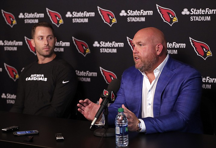 Arizona Cardinals head coach Kliff Kingsbury, left, and general manager Steve Keim  discusses the upcoming NFL football draft during a news conference, Tuesday, April 16, 2019, in Tempe. (Matt York/AP)