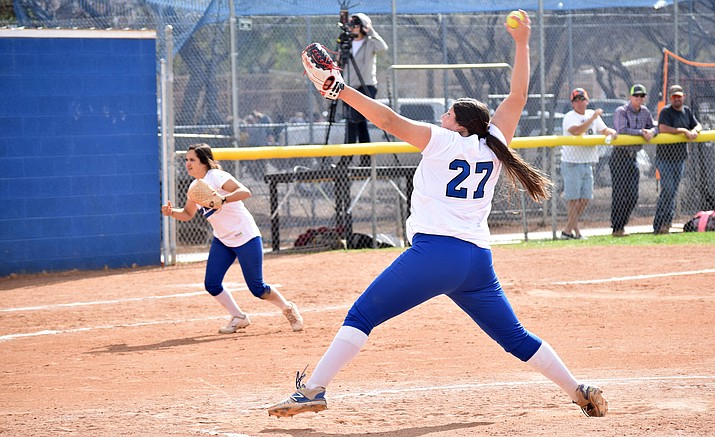 Camp Verde junior Jacy Finley pitched a shut out, struck out 10 and hit a home run in the Cowboys' 6-0 win over No. 4 Northland Prep on Tuesday. VVN/James Kelley