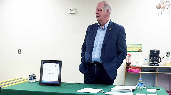 U.S. Rep. Tom O'Halleran (D-AZ) talks to staff from Tuba City High School's Child Development Learning Center and from First Things First during a visit in Tuba City March 19. (Photo by Woody Begay/TCHS)