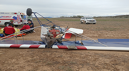 An ultralight aircraft built by a Dewey man and his son crashed in Paulden, injuring the sole occupant April 11. (Photo/Yavapai County Sheriff's Office)
