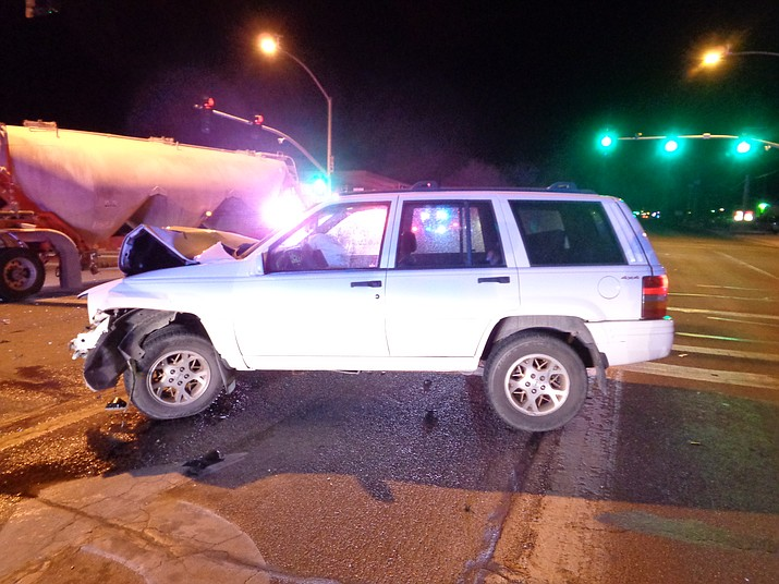 A white Jeep Cherokee was turned in front of a semi in Chino Valley Monday, April 22, causing a crash on Highway 89.