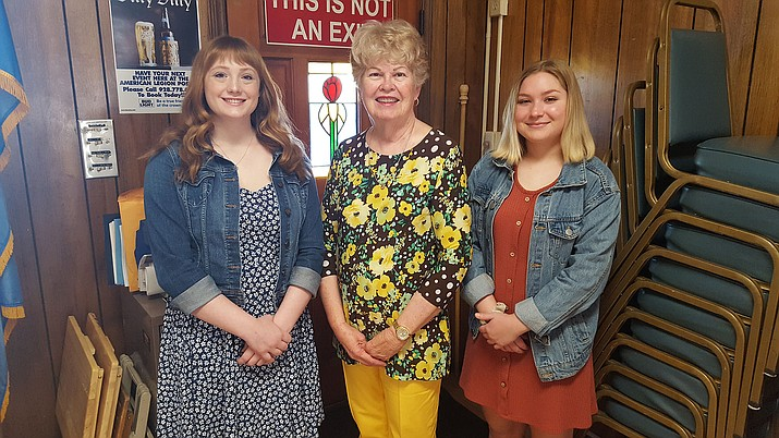 Attending the Girls State orientation lunch on April 20 included, from left, Claire Barrett, delegate; Lois Cyr, Unit 6 chairman; and Holly Martinez, delegate. Not in attendance was delegate Madison Jackson. (Courtesy)