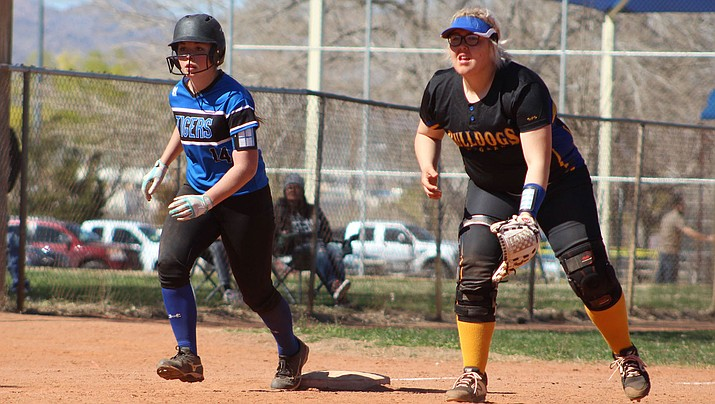 Kingman Academy's Ammerisa Benson, left, and Kingman's Ariana McKowan hope to lead their squads to victory in the 3A Conference Play-In Tournament. The Lady Tigers travel to Coolidge, while the Lady Bullodgs make the trek to Page. Both games start at 4 p.m. Wednesday. (Daily Miner file photo)