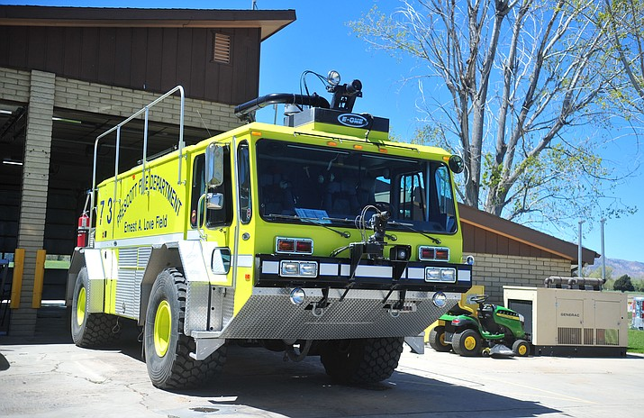 The Aircraft Rescue and Firefighting (ARFF) truck at Prescott Fire Department Station 73, on the south side of Prescott Regional Airport, Friday, April 19, in Prescott. (Les Stukenberg/Courier)