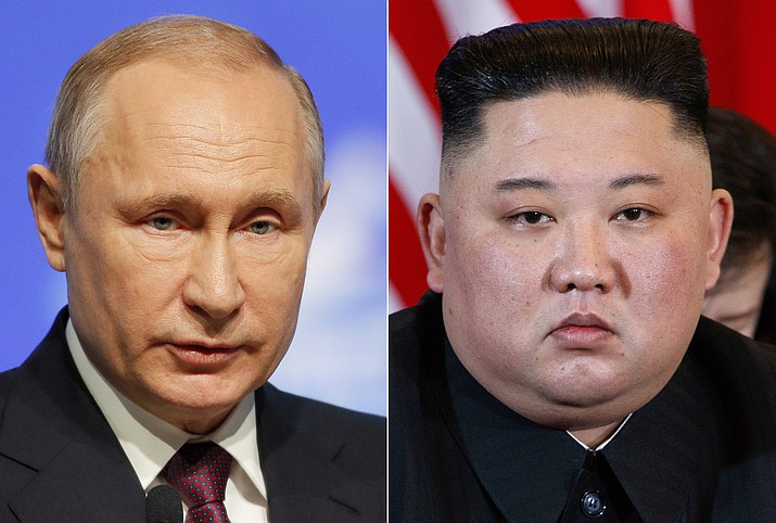 This combination file photo, shows Russian President Vladimir Putin, left, in St. Petersburg, Russia, April 9, 2019, and North Korean leader Kim Jong Un in Hanoi, Vietnam, on Feb. 28, 2019. When Kim meets with Putin for their first one-on-one meeting, he will have a long wish list and a strong desire to notch a win after the failure of his second summit with U.S. President Donald Trump in February 2019. (Dmitri Lovetsky, Evan Vucci/AP, file)