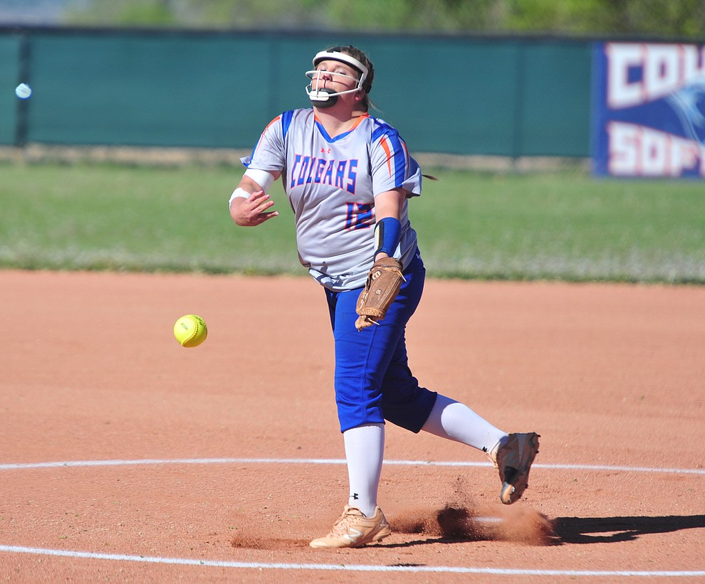 Chino Valley's Daviren Passmore delivers a pitch as the Cougars play Pusch Ridge in the play-in round of the Arizona Interscholastic Association State Softball D3 Tournament Wednesday, April 24 in Chino Valley.  (Les Stukenberg/Courier)