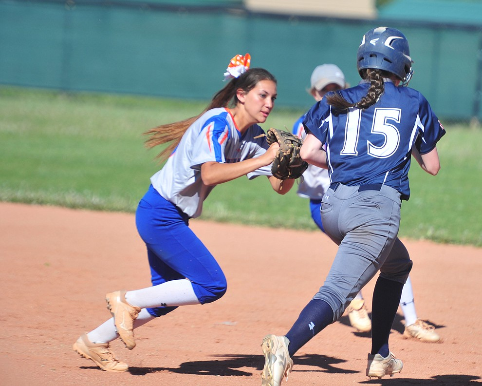 Chino Valley's Annie Cianciola makes the play at first as the Cougars play Pusch Ridge in the play-in round of the Arizona Interscholastic Association State Softball D3 Tournament Wednesday, April 24 in Chino Valley.  (Les Stukenberg/Courier)