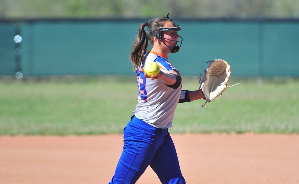 Chino Valley's Arianna Bunker throws to first as the Cougars play Pusch Ridge in the play-in round of the Arizona Interscholastic Association State Softball D3 Tournament Wednesday, April 24 in Chino Valley.  (Les Stukenberg/Courier)