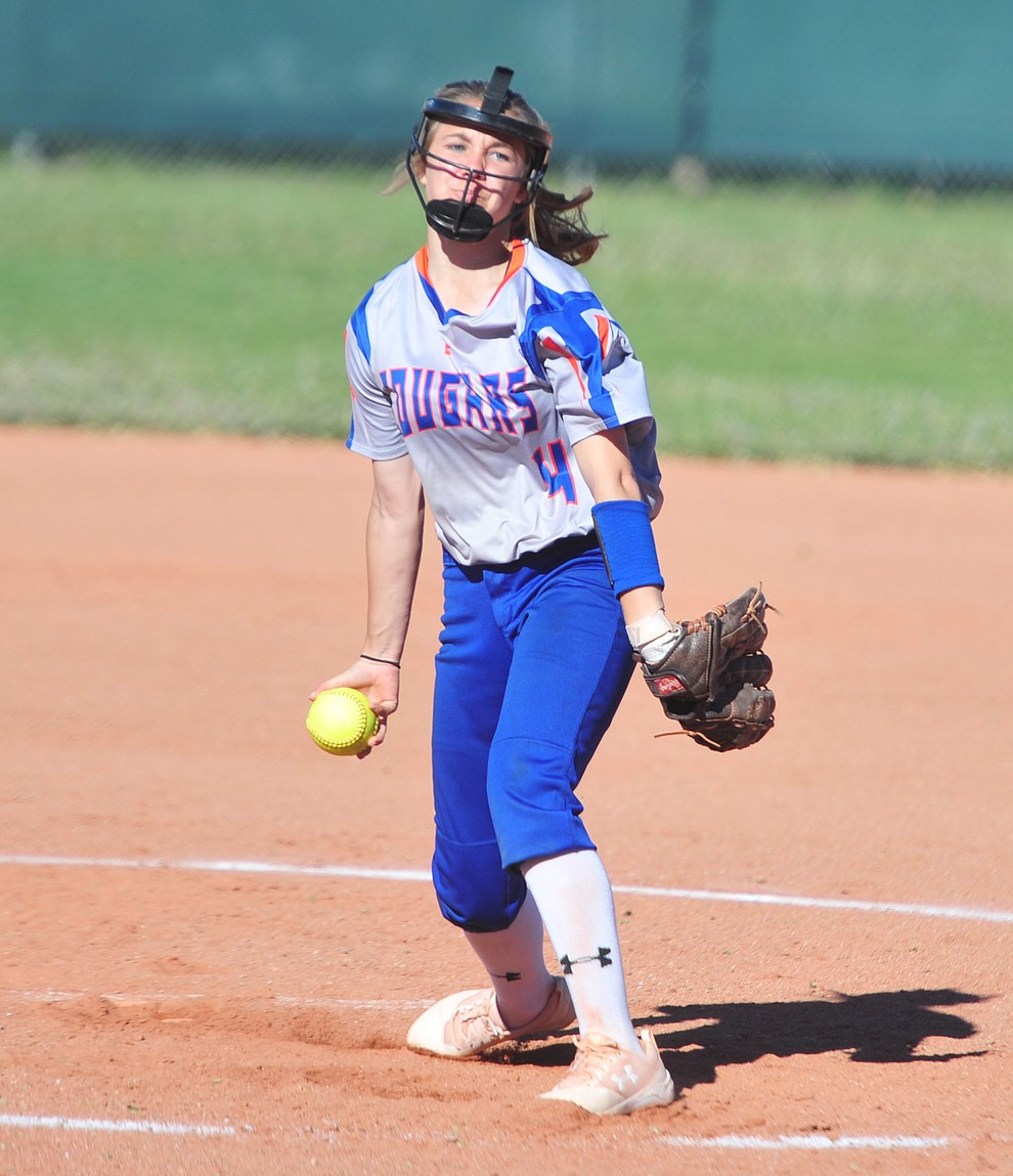 Chino Valley's Alyssa Hamm delivers a pitch in relief as the Cougars play Pusch Ridge in the play-in round of the Arizona Interscholastic Association State Softball D3 Tournament Wednesday, April 24 in Chino Valley.  (Les Stukenberg/Courier)