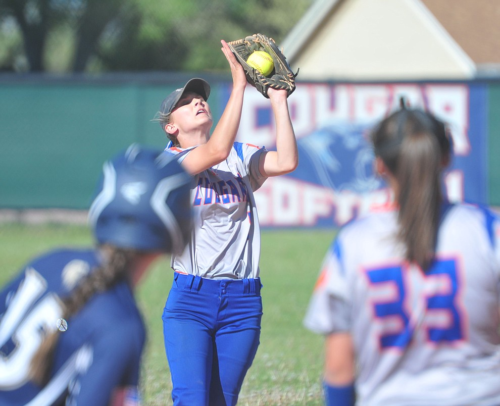 Chino Valley's Jadyn Clawson makes the catch at shortstop as the Cougars play Pusch Ridge in the play-in round of the Arizona Interscholastic Association State Softball D3 Tournament Wednesday, April 24 in Chino Valley.  (Les Stukenberg/Courier)