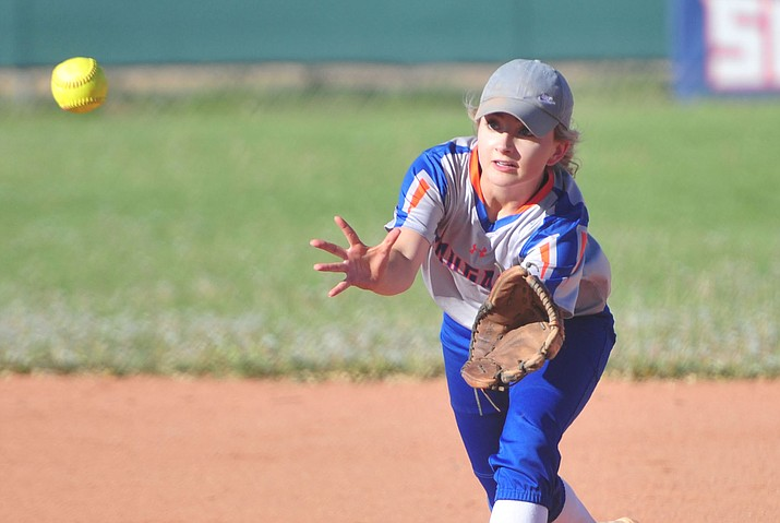 Chino Valley's Jacey Buchanan makes the play at second as the Cougars play Pusch Ridge in the play-in round of the Arizona Interscholastic Association State Softball D3 Tournament Wednesday, April 24 in Chino Valley.  (Les Stukenberg/Courier)