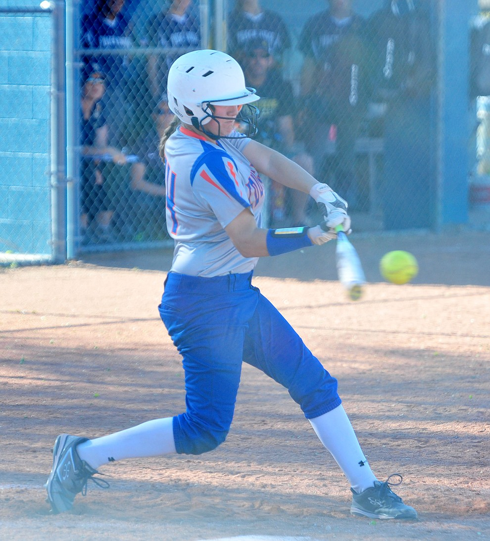 Chino Valley's Kacey Mathews makes contact as the Cougars play Pusch Ridge in the play-in round of the Arizona Interscholastic Association State Softball D3 Tournament Wednesday, April 24 in Chino Valley.  (Les Stukenberg/Courier)