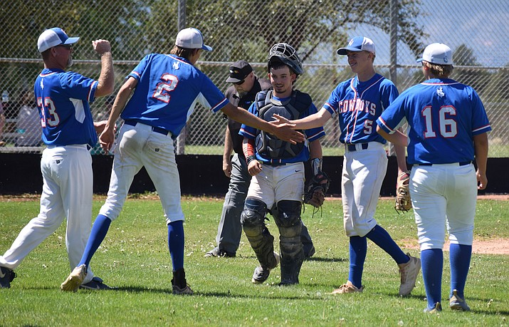 The Camp Verde Cowboys celebrate their 11-1 win at Sedona Red Rock on Saturday in five innings. Camp Verde went 10-1 in region play and have won nine games in a row overall. VVN/James Kelley