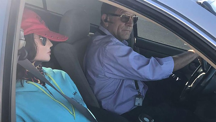 A driver was caught using a mannequin as a fake passenger to drive in the carpool lane on Loop 202 in Phoenix on Tuesday, April 23, 2019. (Arizona Dept. of Public Safety/Twitter)