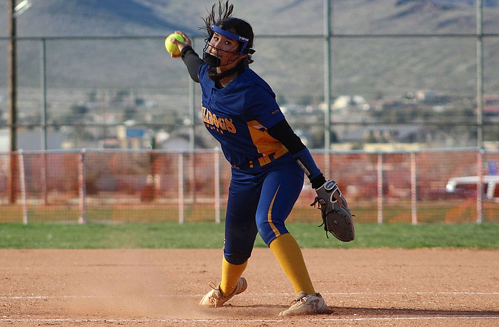 Kingman's Lilianna Valdivia picked up the win in the circle Wednesday afternoon as she struck out six with no walks in six innings of work as the Lady Bullldogs cruised to a 16-3 win at Page. (Daily Miner file photo)