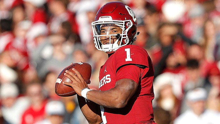 Kyler Murray threw for 4,361 yards and 42 touchdowns with 11 interceptions at Oklahoma last season, and added 1,001 yards and 12 more touchdowns on the ground. (Photo courtesy of Oklahoma Athletics)