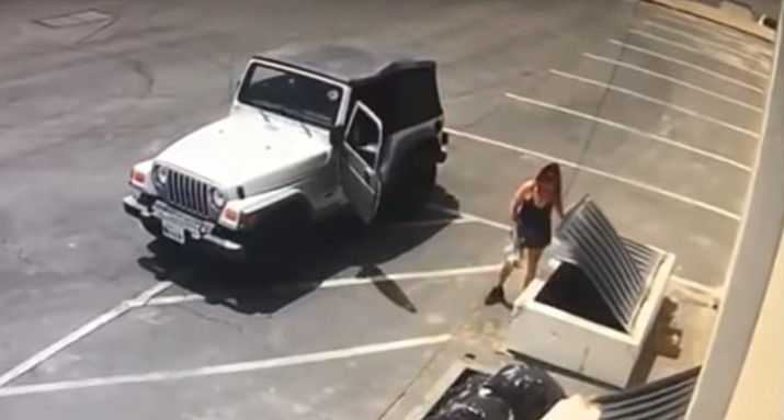 Police say Deborah Sue Culwell of Coachella, California could face up to seven years behind bars on a slew of charges filed Tuesday after authorities say surveillance video showed her casually tossing a bag of 3-day-old puppies into a trash can on a sweltering day. (Surveillance video image/Riverside County Animal Services)
