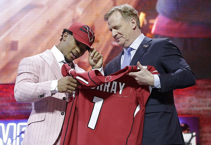 Oklahoma quarterback Kyler Murray poses with NFL Commissioner Roger Goodell after the Arizona Cardinals selected Murray in the first round at the NFL football draft, Thursday, April 25, 2019, in Nashville, Tenn. (Mark Humphrey/AP)
