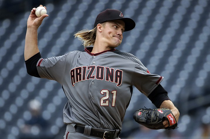Arizona Diamondbacks starting pitcher Zack Greinke delivers during the first inning of a baseball game against the Pittsburgh Pirates in Pittsburgh, Thursday, April 25, 2019. (Gene J. Puskar/AP)